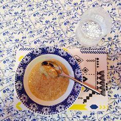 Bombotti Cross stitch -kutting board, Arabia coffee set (retro), Marimekko tablecloth (retro), Iittala glassware, photo Viivi Lehto
