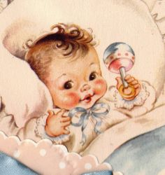 Vintage Welcome Baby Congratulations Greetings Card Vintage Baby Pictures, Vintage Images, Baby Illustration, Illustrations, Vintage Greeting Cards, Vintage Postcards, Baby Born Congratulations, Welcome Baby, Baby Kind