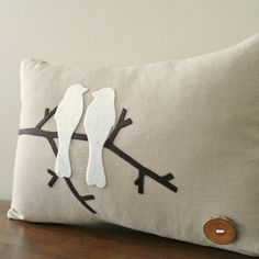 What about felt birds or ornamentation on a burlap pillow cover, could be pretty. What about felt birds or ornamentation on a burlap pillow cover, could be pretty. Felt Crafts, Fabric Crafts, Sewing Crafts, Sewing Projects, Burlap Pillows, Sewing Pillows, Decorative Pillows, Felt Pillow, Bird Pillow