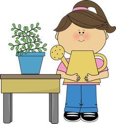 Classroom Plant Helper Clip Art - Classroom Plant Helper Vector Image