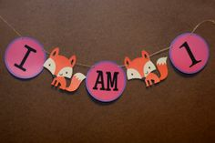 Fox I am 1 banner. Fox Birthday. What Does by MudPuddlesNRuffles, $12.00