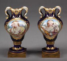 Pair of 19th C. Jewled Sevres Porcelain Vases