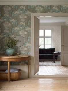 Siri by Boråstapeter - Beige and Green - Wallpaper : Wallpaper Direct Dining Room Wallpaper, Interior Wallpaper, Green Wallpaper, Wallpaper Suppliers, Teal Art, Wallpaper Direct, Wallpaper Wallpapers, Wallpaper Ideas, Country House Interior