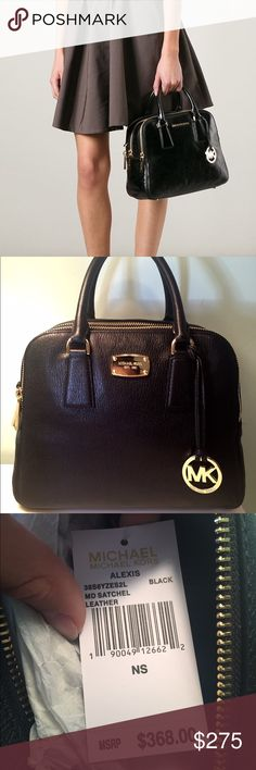 Michael Kors Alexis Medium Satchel! This beautiful black purse is a classic! The satchel strap is still in the packaging and has never been opened. Please let me know if you have any questions!☺️ Michael Kors Bags Satchels