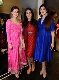 Dia Mirza, Anita Dongre and Sangeeta Bijlani at the store launch