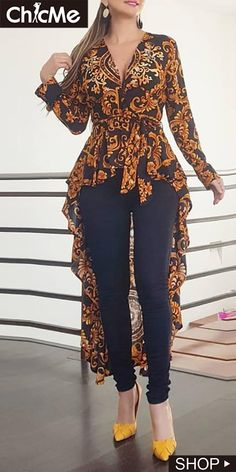 Baroque Print Long Sleeve Dip Hem Blouse - All About Latest African Fashion Dresses, African Print Fashion, Indian Fashion, Stylish Dress Designs, Stylish Dresses, Chic Outfits, Fashion Outfits, Floral Dress Outfits, Maxi Outfits