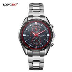 2017 LONGBO Brand Fashion Luxury Stainless Steel Watchband Sports Business Quartz Watches Waterproof Mens WristWatches 80007 #Affiliate