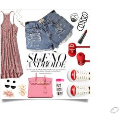 A fashion look from August 2015 featuring red dress, jean shorts and laced up shoes. Browse and shop related looks. Charlotte Olympia, Wet Seal, Monsoon, Marni, Cartier, Polyvore Fashion, Lazy, Beats, American Eagle Outfitters