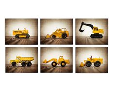 Six Canvases Ready to Hang, Vintage Construction Vehicles On Barnwood, Diggers, Wall Art,  Kids Room, Nursery Ideas