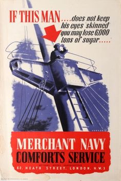 Merchant Navy WWII UK, 1940s - original vintage poster by Varnon listed on AntikBar.co.uk