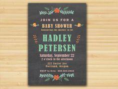 Rustic Chalkboard Vintage Floral Baby Shower Postcard Invitation - DIY Digital Printable File on Etsy, $15.00