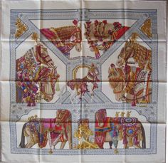 0a70b002b27 Creme and multicolor Hermès silk scarf with  La Danse du Cheval Marwari   motif and hand-rolled edges.