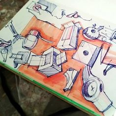 Good example of rough doodles, sketches, ideas, concepts.