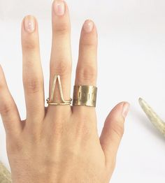 Stamped Antiqued Brass Cuff Ring by AVILLA Jewelry