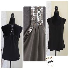 """Back race top by Express Shiny sequins trim detail the racer back. Material; 95% polyester, 5% spandex. Machine wash cold. Material doesnt have any lining but its not sheered. Built in shelf bra. Approximate length from shoulder to bottom 26"""". Armpit left to right 18.5"""" Express Tops Tank Tops"""