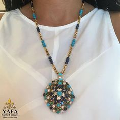 Add a pop of color! Diamonds, emeralds, sapphires and turquoise combine perfectly in this #VCA necklace. Available from #YafaSignedJewels , contact us for details. #invest #collect #SignedJewelry #estatejewelry #vintagejewelry #turquoise #vancleefandarpels #vancleefarpels #diamond #sapphire #emerald #finejewelry #forsake #newyork