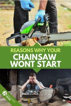 If your dependable chainsaw suddenly won't start, check this guide out for some troubleshooting tips to get you back up and running in no time. Best Chainsaw, Chainsaw Repair, Chainsaw Mill, Stihl Chainsaw, Chainsaw Chains, Chainsaw Parts, Lawn Mower Maintenance, Lawn Mower Repair, Maintenance Jobs