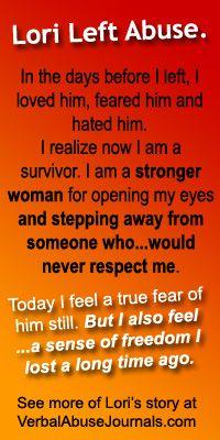 Lori's Story – Leaving Abuse - wow !!!!  This Lori so sounds like me 13 years ago..........good on ya Lori !!!