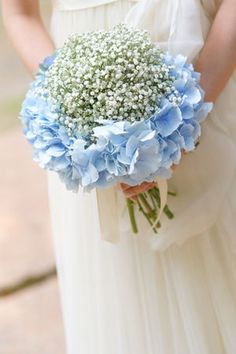 I like the idea of hydrangeas and baby's breath, but more mixed together
