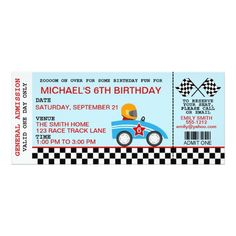 Race Car Birthday Invitation Customizable 3 Year Old Party 12th