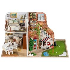 Flever Dollhouse Miniature DIY House Kit Creative Room With Furniture for Romantic Valentine's Gift(Tour of Golf )  Product Size:11.4*8.3*5.7(inches)  Package included all the furnitures and accessories in the pictures,not including dust proof cover  Each