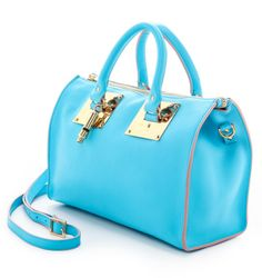 Sophie Hulme Mini Zip Top Bowling Bag Capri Blue