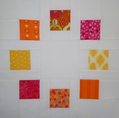 Circle of Squares Block.  Tutorial shows how to make a circle of 8 blocks (9 patch setting), finishing at 12 inches