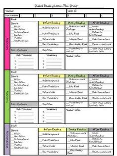 Lesson Plan idea -  A cute Guided Reading Lesson Plan (includes before, during