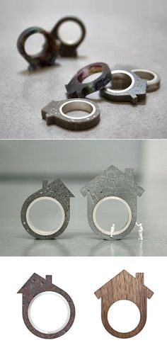 Miniature Houses, sculptural rings made from concrete, brick & wood…