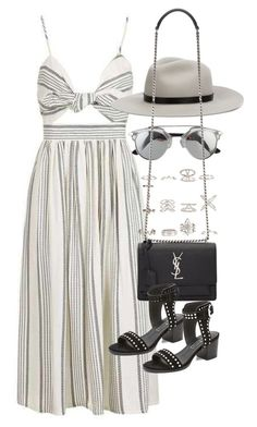 """Outfit for a summer party with a midi dress"" by ferned ❤ liked on Polyvore featuring Topshop, New Look, rag & bone, Yves Saint Laurent and Sol Sana"