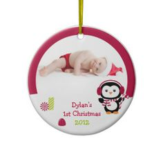 Winter Penguin Baby's First Christmas Ornament