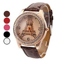ρολόι πολυτέλεια διαμάντι Πύργος του Άιφελ ζώνη PU γυναικών – EUR € 2.96