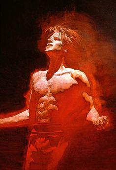 Artist: David Grove {contemporary figurative illustrator male torso glowing orange man painting}