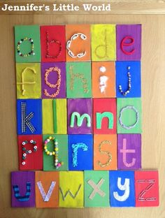 Touch and feel alphabet cards. I like the idea, but what about Elmer's glue on colored cardstock too?