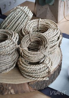 Seagrass cord from Vivant Decorations. How To Make Rope, Cords, Wicker Baskets, Twine, Packaging, Home Decor, Decoration Home, Room Decor, Wrapping