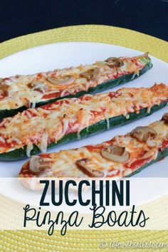 Meatless Meal for less. Try this surprisingly delicious Zucchini Pizza Boats Recipe! Healthy, Low Cal, Vegetarian, and clean eating!