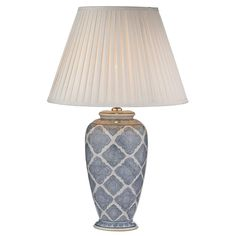 DAR ELY4223 Ely Pale Blue Geometric Print Table Lamp (Base Only). DAR Lighting ELY4223 is part of the Table Lamps range. Buy DAR ELY4223.