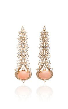 Pink Opal and Diamond Earrings by Sutra Jewels