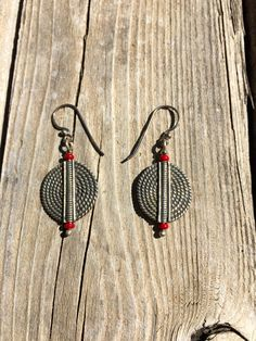 Unique Handmade Detailed Twisted Sterling Silver CIrcle Beaded Dangle Earrings with Red Glass Bead Accents from #EnamelArtByLeslie on Etsy. One of a kind, unique sterling silver dangle earrings!