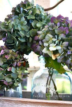 flowers in mason jars - a few ideas via Funky Junk Interiors