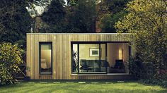 Small Prefab Homes - Prefab Cabins: Contemporary Modular Garden Studios by Ecospace Backyard Office, Backyard Studio, Garden Office, Outdoor Office, Modern Backyard, Small Prefab Homes, Prefab Cabins, Tiny Homes, Shipping Container Office