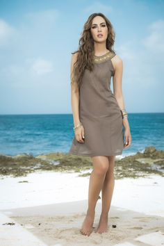 Mocha Beaded Collar Sheer Beach Dress