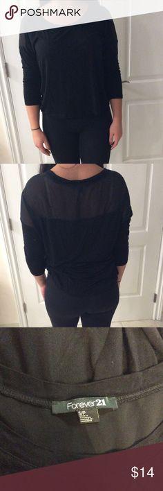 Black forever 21 quarter sleeve shirt Black forever 21 quarter sleeve shirt with mesh shoulder/ back Forever 21 Tops Tunics
