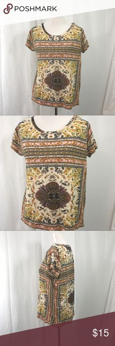 Lucky Brand Tribal Short Sleeve Top S EUC cotton Floral print Top. Size Small Loose Fit Bust 42 Length 25 Lucky Brand Tops Tees - Short Sleeve