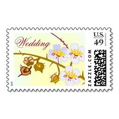 Delicate Cherry Blossom Wedding Stamps