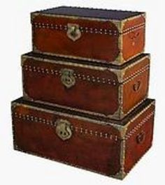 leather and nail-head steamer trunk with a Indian flair