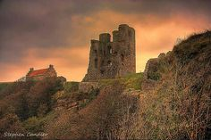 Looking up towards Scarborough Castle, North Yorkshire, England