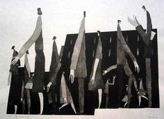 [Art Work / Japanese Prints] Aoki,Tetsuo [ Town – waiting ]	ed.30, 2002, image size:41(cm)x56(cm), woodblock