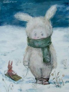 Some bunny looks cold. - art by b Nino Chackvatdze, Tbilisi -- (winter, snow, art, illustration) Illustration Photo, Graphic Illustration, Painting For Kids, Painting & Drawing, Winter Pictures, Winter Scenes, Pretty Art, Illustrations Posters, Art Photography