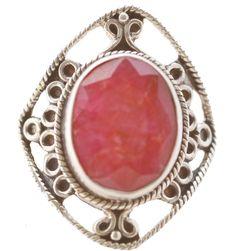Anel em prata Bali com pedra natural vermelha